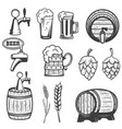 beer mugs wooden barrels hop wheat isolated on vector image