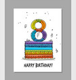 8th anniversary celebration greeting card vector image vector image