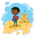 African-American boy and the sand castle vector image vector image