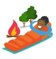 african-american woman sleeping in a sleeping bag vector image