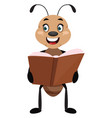 ant holding a book on white background vector image vector image
