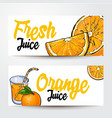 banners with glass of juice oranges and place for vector image