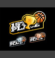 basketball or streetball victory competition set vector image vector image