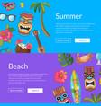 cartoon summer travel elements web banner vector image