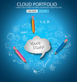 Cloud Portfolio concept with Doodle design style vector image