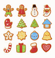 collection christmas oatmeal cookie food vector image vector image