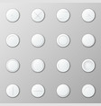 collection realistic white round buttons vector image