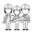 construction workers avatars in black and white vector image vector image