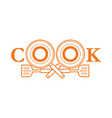 cook font design with pan and spatula outline vector image vector image