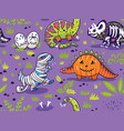 dinosaurs in costumes for halloween vector image vector image