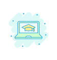 elearning education icon in comic style study vector image vector image