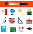 Flat design education icon set vector image