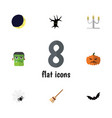 Flat icon festival set of pumpkin candlestick vector image
