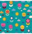 flowers and clouds nature pattern vector image vector image