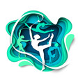 girl gymnast silhouettes dancing with ball hoop vector image