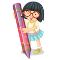 Girl holding large crayon vector image