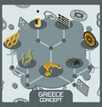 greece color concept isometric icons vector image vector image