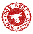 grunge beef premium quality stamp seal vector image vector image