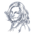 hand-drawn portrait of white-skin smiling woman vector image vector image