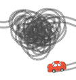 Heart shaped tire trace vector image