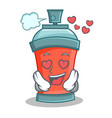 in love aerosol spray can character cartoon vector image vector image
