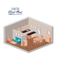 isometric floor plan of home living room and vector image vector image