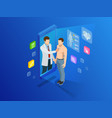 isometric healthcare diagnostics and online vector image