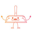 kawaii cartoon hand dustpan with wooden stick in vector image vector image