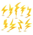 lightning bolts set vector image vector image