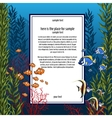 Marine life in bright colors and vertical card vector image vector image