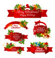 merry christmas wish greeting ribbon icons vector image vector image