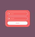 minimal flat color login form ui template design vector image vector image