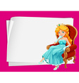 Paper design with princess on chair vector image vector image