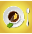Realistic white cup with black tea vector image