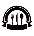restaurant invitation icon with table ware and vector image vector image