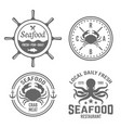 seafood vintage labels badges emblems vector image vector image