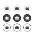 set 3 simple design briefcase icons rounded vector image