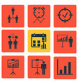 set of 9 board icons includes report vector image vector image
