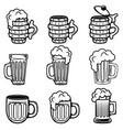 set of beer mugs design elements for logo label vector image vector image