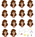Set of cartoon colored female faces with emotional vector image