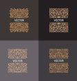 set of linear frames and floral backgrounds with vector image vector image
