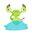 Sick Funny Monster With Fever In Bed Green Alien vector image vector image