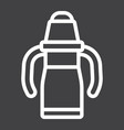 sippy cup line icon baby cup and bottle vector image