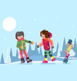 teenagers guy girl characters skating winter flat vector image