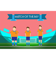 Three soccer players on football stadium vector image vector image