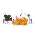 tiny characters make movie operator using camera vector image vector image