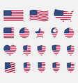 usa flag icons set national symbol of the united vector image vector image