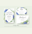 wedding floral invite rsvp thank you card set vector image vector image