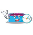 with clock pencil case character cartoon vector image