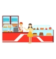 Woman Ordering At The Counter Smiling Person vector image vector image